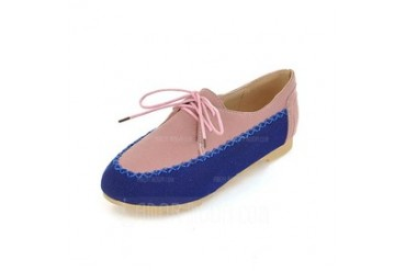 Suede Flat Heel Flats Closed Toe With Lace-up shoes (086044237)