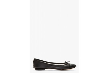 Repetto Black Leather Ballerina Flats