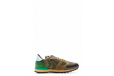 Valentino Green And Brown Camo Sneakers