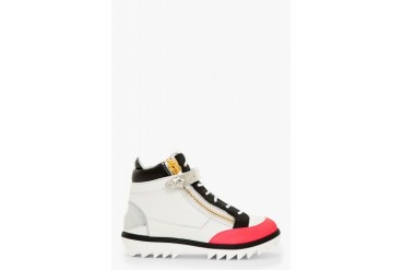 Giuseppe Zanotti Grey And Pink Grained Leather Toky Sneakers