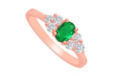 Emerald and CZ Engagement Ring in 14K Rose Gold Vermeil