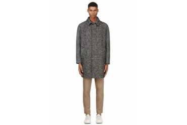 Msgm Black And White Tweed Coat