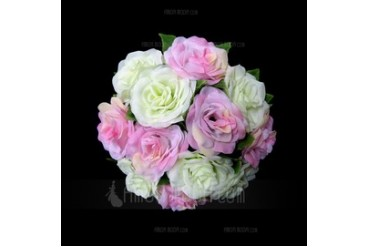 Charming Round Satin Bridal Bouquets (123031483)