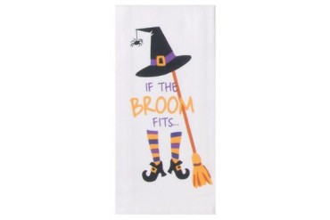 Hocus Pocus If the Broom Fits Halloween Fun Flour Sack Kitchen Dish Towel