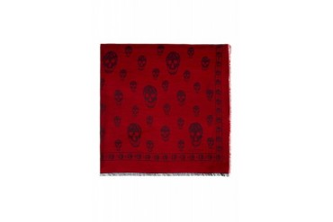 Alexander Mcqueen Red And Navy Skull Shawl