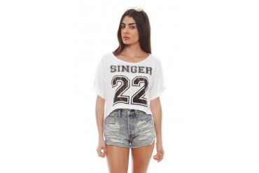 Local Celebrity Cropped Tee in White/Black - designed by SINGER22