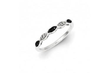 1 10 Ctw Black amp White Diamond Marquise Cluster Sterling Silver Band