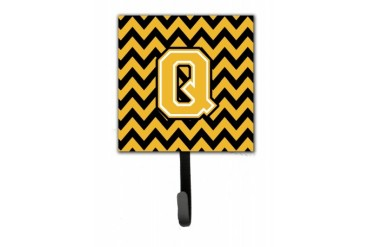 Letter Q Chevron Black and Gold Leash or Key Holder
