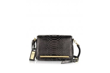 Mini Black Python Leather Shoulder Bag