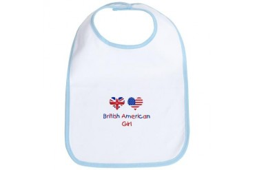 British American Girl Baby Bib by CafePress