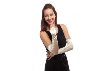 Budding Blossom Satin Fingerless Opera Length Gloves with Embroidery