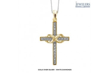 Genuine Diamond Accent Infinity Cross Pendant in Sterling Silver - Assorted Colors