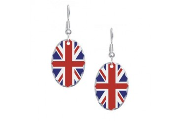 UNION JACK UK BRITISH FLAG Earring Oval Charm