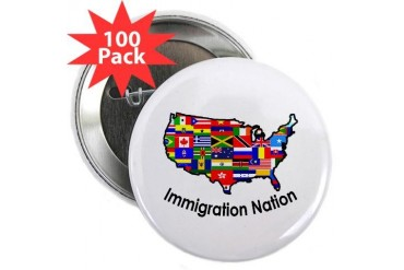 USA: Immigration Nation Peace 2.25 Button 100 pack by CafePress