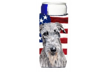 Scottish Deerhound with American Flag USA Ultra Beverage Insulators for sli