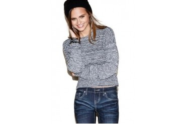 Marled crewneck crop sweater