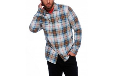 Obey 'Loner' Long Sleeve Woven Plaid Button Down Shirt Blue, S