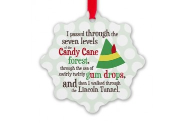 Candy Cane Forest Quote Snowflake Ornament