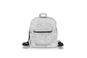 Spettrale White and Black Cracked Leather Backpack