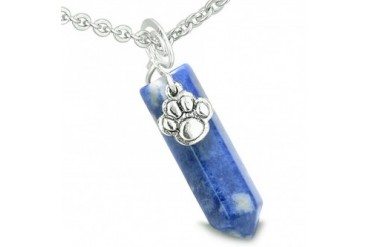 Amulet Lucky Wolf Paw Crystal Point Charm Sodalite 22 Inch Necklace
