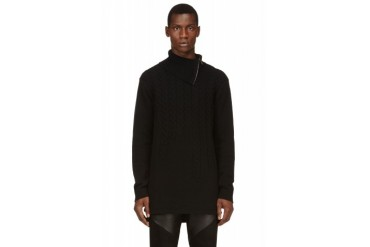 D.gnak By Kang.d Black Cableknit Turtleneck
