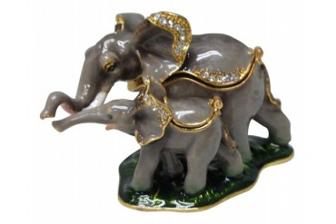 Pewter Safari Mom and Baby Elephants Jewelry Hinged Box