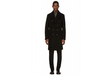 Burberry Prorsum Black Wool And Cashmere Officer Coat