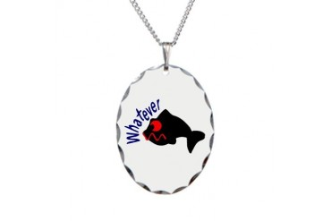 Whatever funny fish Humor Necklace Oval Charm by CafePress