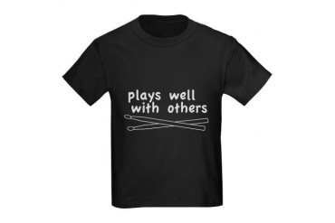 Plays Well (Drums) Kids Dark T-Shirt
