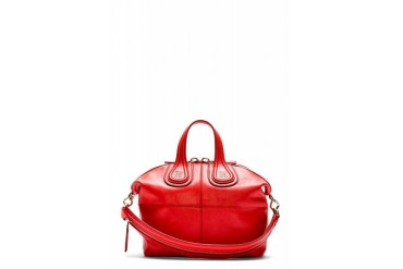Givenchy Coral Red Leather Small Zanzi Nightingale Bag