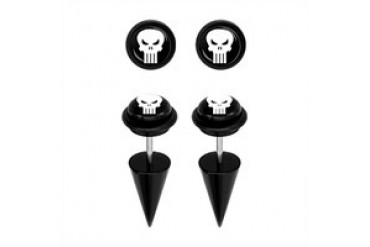 Marvel Comics Punisher Acrylic Faux Taper Earrings