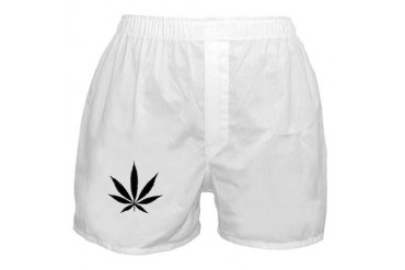 Marijuana Leaf BW Beer Boxer Shorts by CafePress