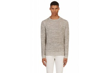 Rag And Bone Grey Linen Cableknit Nolan Sweater