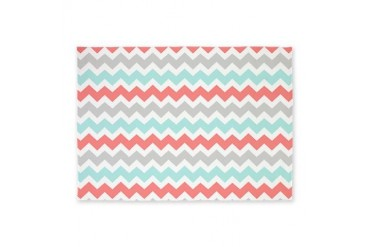 Coral Aqua Grey Chevron 5'x7'Area Rug