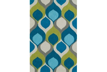Dalyn Aloft Contemporary Blue All-Over Circles Waves Curves Area Rug