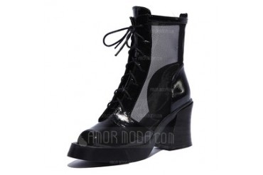 Real Leather Chunky Heel Sandals Boots With Lace-up shoes (088047289)