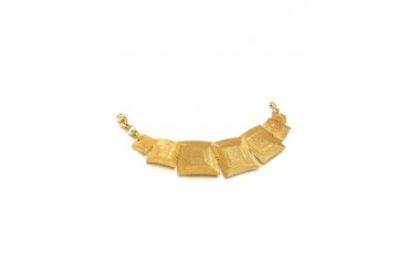Golden Silver Etched Square Link Bracelet