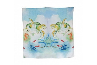 Betsy Drake Sea Turtle Print Shower Curtain 70 X 72 In.