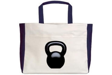 Kettlebell Black Sports Beach Tote by CafePress