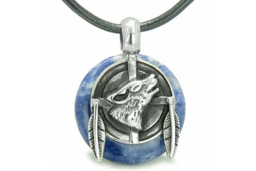Amulet Howling Wolf Feathers Sodalite Lucky Donut Necklace