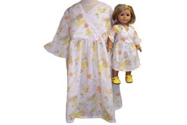 Matching Doll And Girl Clothes Yellow Print Dress Size 7