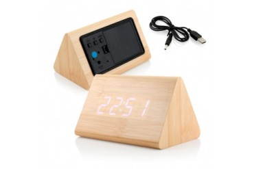 Modern Triangle Wood LED Wooden Alarm Digital Desk Clock Thermometer Timer