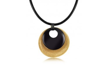 Etched Golden Silver and Onyx Round Pendant w/Leather Lace