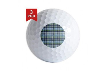 Blue Green Plaid Print Vintage Golf Balls by CafePress
