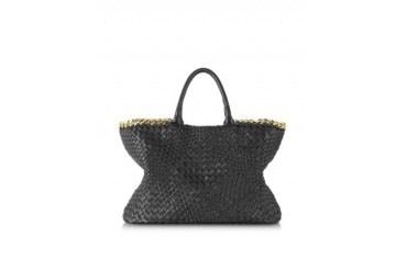 Black Woven Leather Tote w/Chain