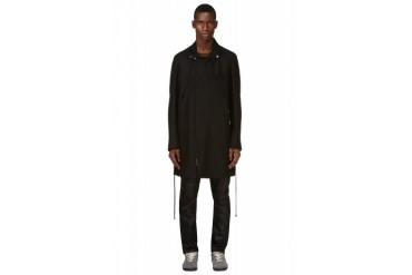 Ann Demeulemeester Black Wool Long Biker Coat