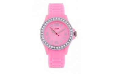 A Time Machine ATM 1001SPPP Pink Silicon Strap Watch