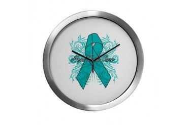 Peritoneal Cancer Flourish Cancer awareness Modern Wall Clock by CafePress