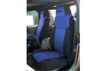 Coverking Jeep Logo Black and Blue Neoprene Front Seat Covers  SPC128L Seat Cover