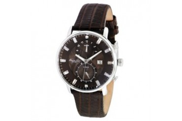 Oversize Watch With Brown Croco-Embossed Strap